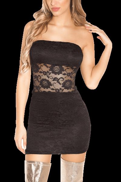 Bandeau-Minikleid mit Spitze schwarz