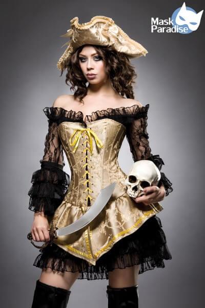 Sexy Piratenbraut gold/schwarz