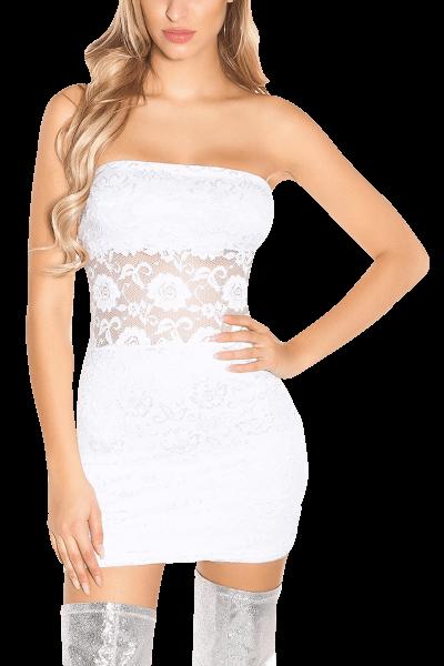 Bandeau-Minikleid mit Spitze weiß