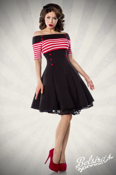 Vintage Kleid schwarz/rot/weiß