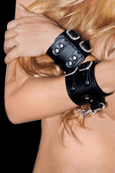Schwarze Handfesseln