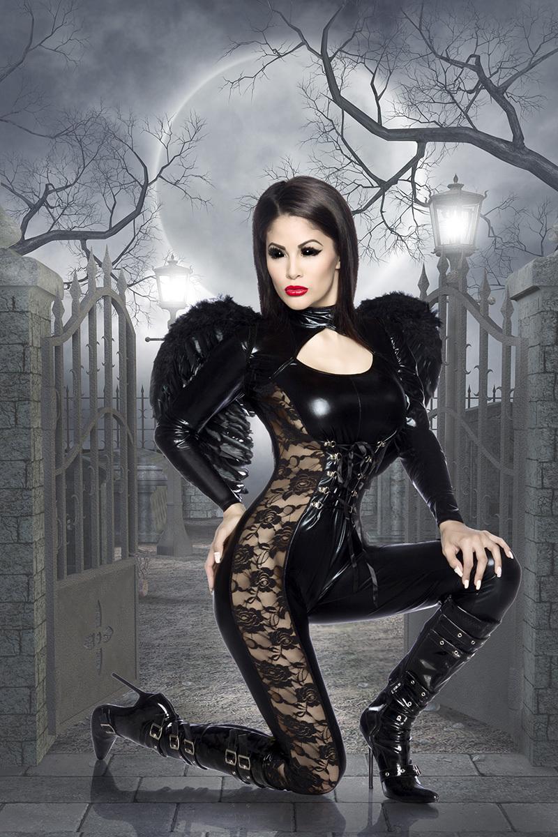 schwarzer engel sexy kost m catsuit wetlook verkleidung. Black Bedroom Furniture Sets. Home Design Ideas