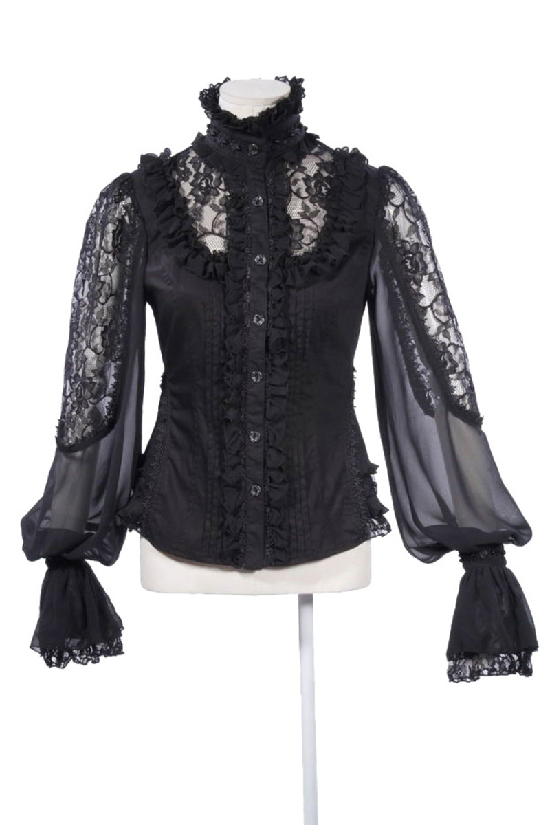 steampunk bluse gothic aus spitze und chiffon. Black Bedroom Furniture Sets. Home Design Ideas