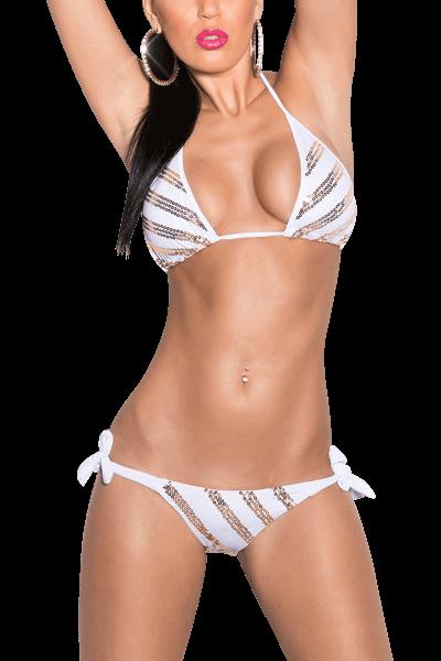 Neckholder Bikini weiß mit goldenen Pailletten