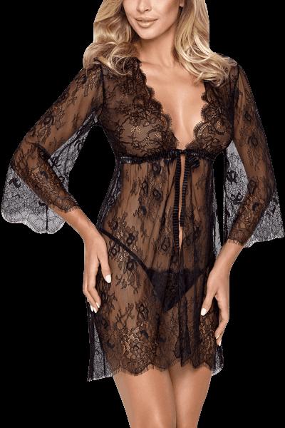 Kimono aus schwarzer Spitze