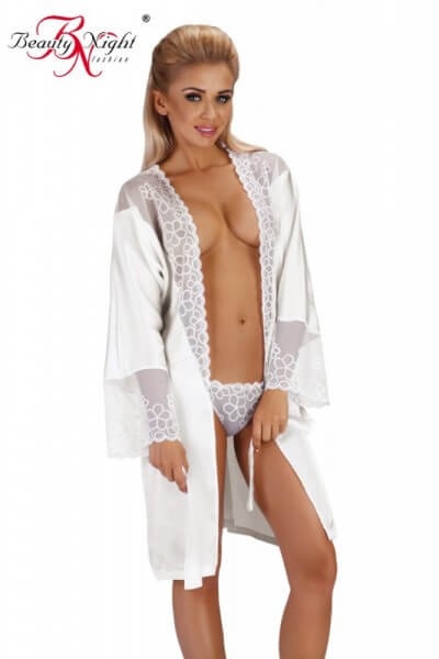 Kimono aus Satin weiß
