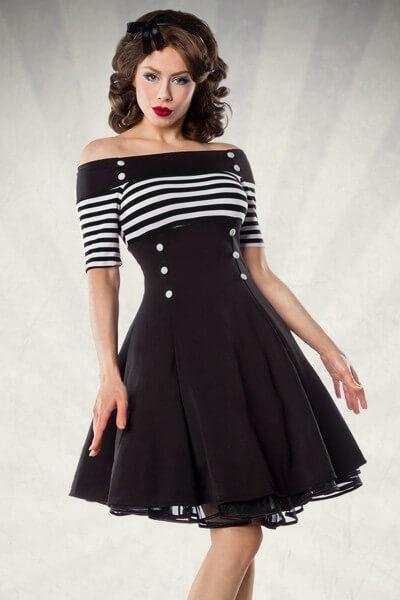 Vintage Kleid schwarz mit Streifen