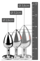 Silberner Analplug mit Herzkristall - S/M/L