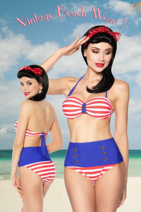 Vintage Bikini rot/blau