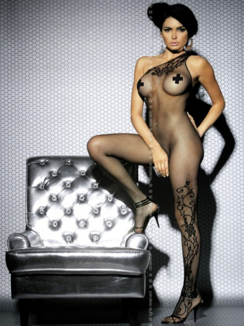 Ouvert Bodystocking mit Muster