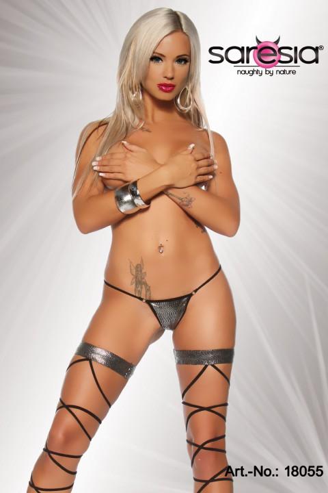 Gogo Stockings mit String silber