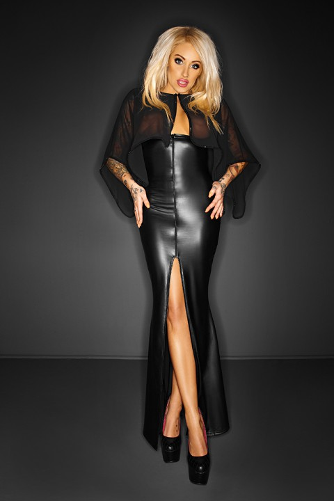 Wetlook Kleid mit Cape