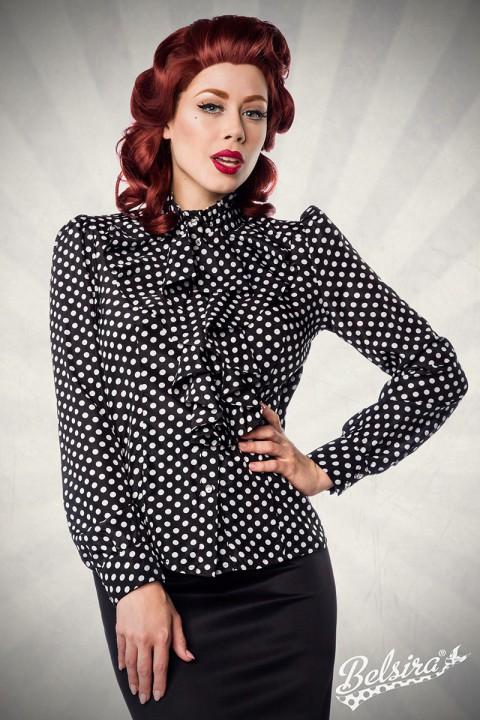 Vintage Bluse schwarz/weiß