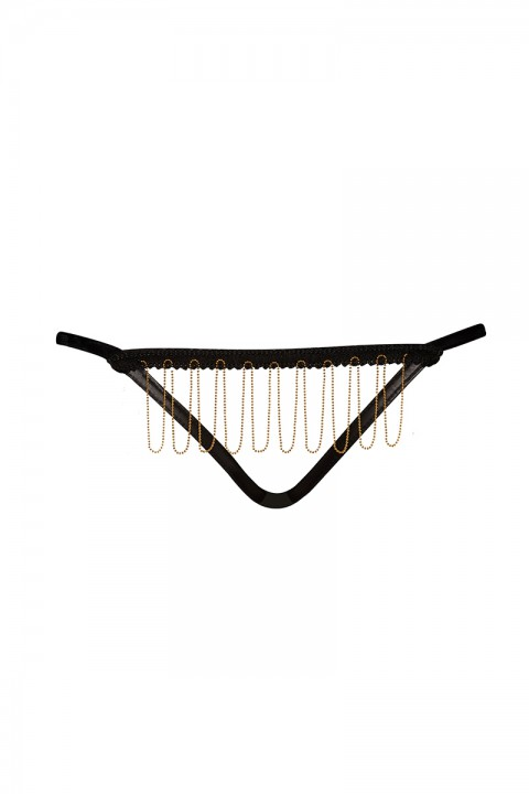 Wetlook String mit Ketten Plus Size