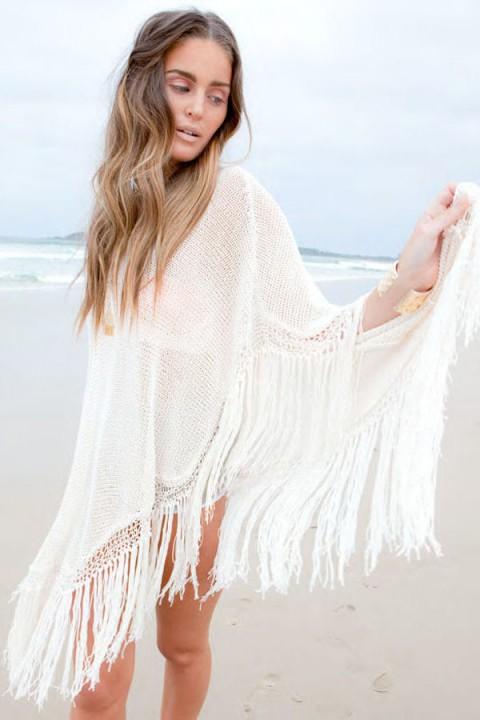Strand Poncho weiß