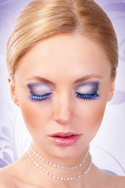 Blaue Wimpern mit Strass