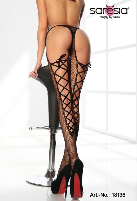 Netz-Strumpfhose mit schwarzer Schnürung