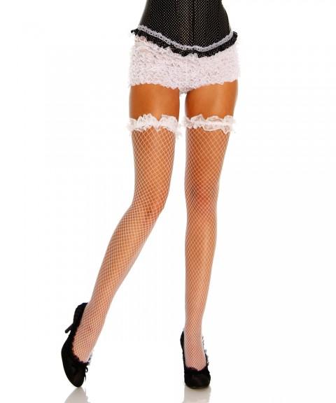 Netz Stockings mit Rüschen in weiß